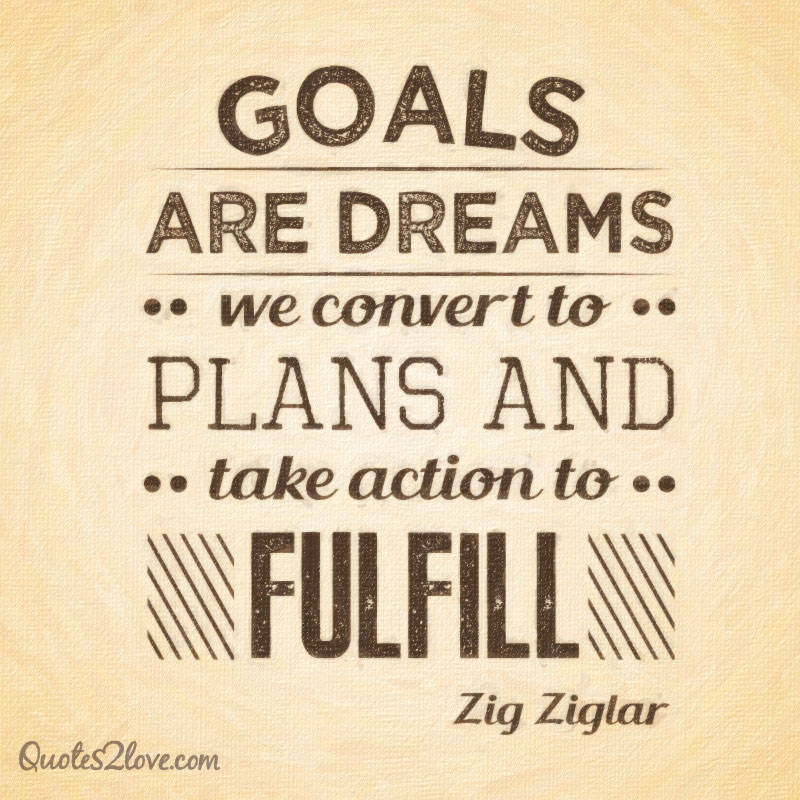 Goals are dreams we convert to plans and take action to fulfil.