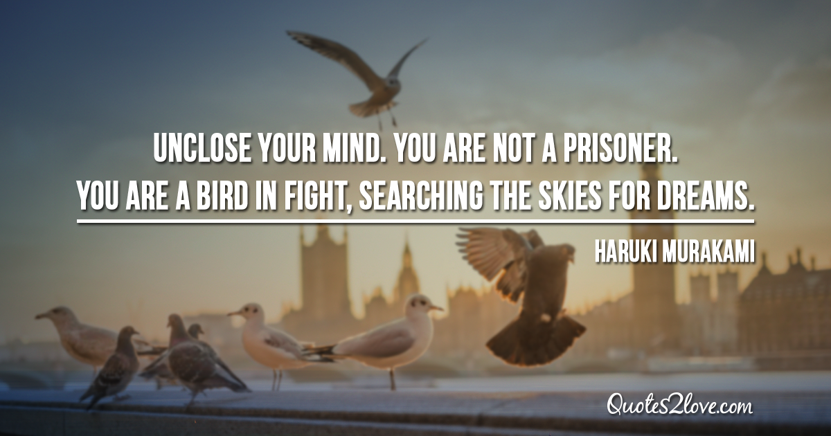 Haruki Murakami's quotes - Unclose your mind. You are not a prisoner. You are a bird in fight, searching the skies for dreams.