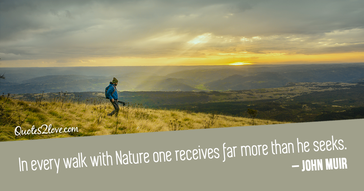 John Muir's quotes In every walk with Nature one receives far more than he seeks.